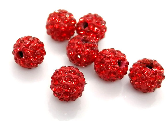 Grade A Crystal Shamballa Clay Beads 8mm - Lights - Choice of Colours Pack of 10