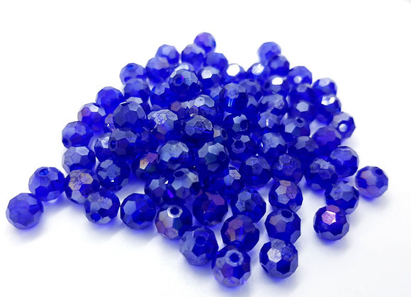 Glass Faceted Electroplate Round Bead 6mm - Sapphire