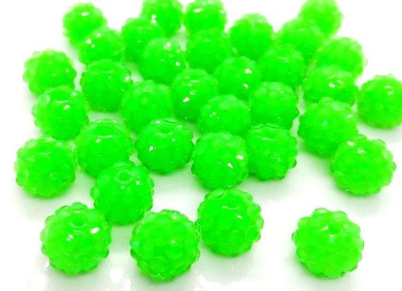 Neon green resin rhinestone disco ball shamballa bead