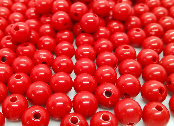 Opaque Acrylic Round Beads 8mm - Red