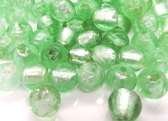 Silver Foil Glass Round Bead Pale Green 10mm Pack of 10