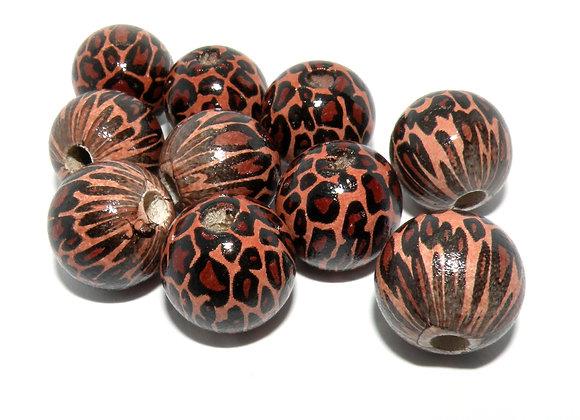Tiger Print Wooden Bead 16mm