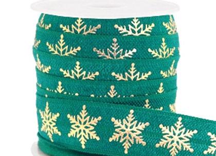 Elastic Ribbon - Snowflake Petrol Green