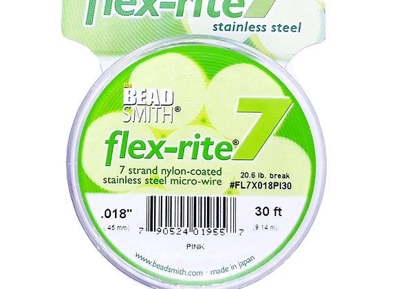 "Beadsmith flex-rite 7 Beading Wire Pink .018"""