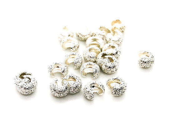 The Beadsmith Crimp Bead Covers Silver Stardust 4mm Pack of 2