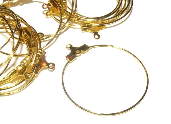 Brass Hoop Earrings - Gold - Pack of 10