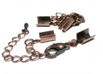 Fold Over Cord End with Clasp & Chain 5mm Hole - Copper