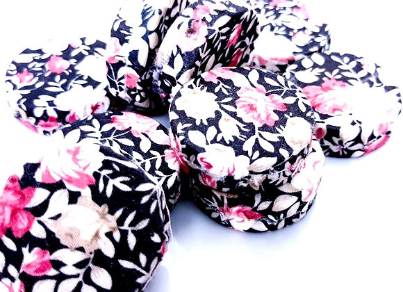 Woven Cloth Disc Bead - Black Floral