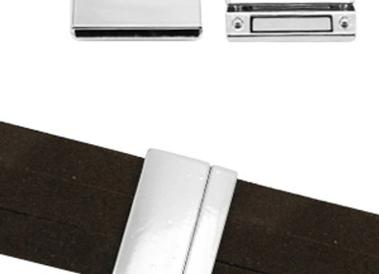Large Magnetic Rectangle Clasp Bright Shiny Silver- 30mm Hole