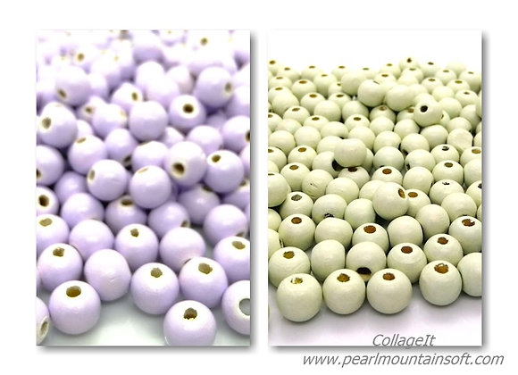 Round Wooden Beads - Lilac or Green 8mm