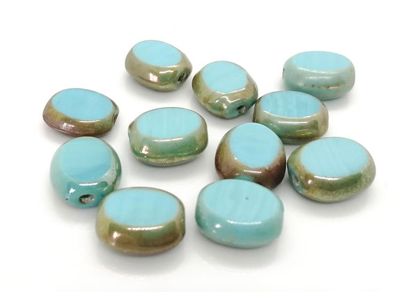 Flat Oval Electroplate Glass Bead 15mm -  Turquoise
