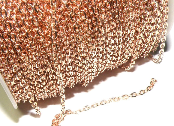 Soft Rose Gold Fine Brass Chain 3.2mm