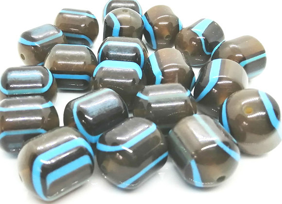 Large Resin Column Bead 23mm - Brown/Turquoise