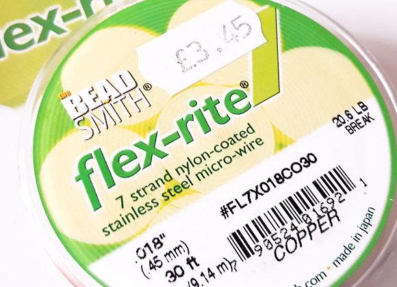 "Beadsmith flex-rite 7 Beading Wire Copper .018"""
