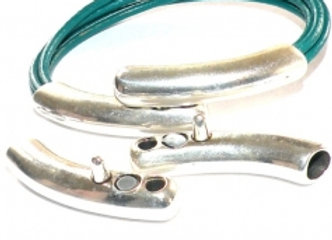 Silver double tube magnetic clasp for jewellery making