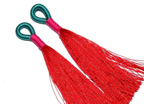 Braided Tassel 75mm - Red