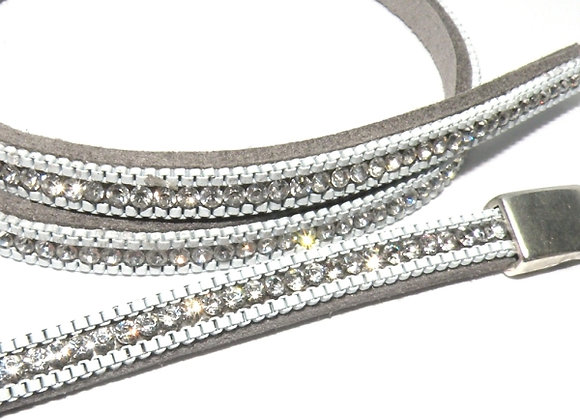 Faux Suede with Strass Crystals 6mm - Silver