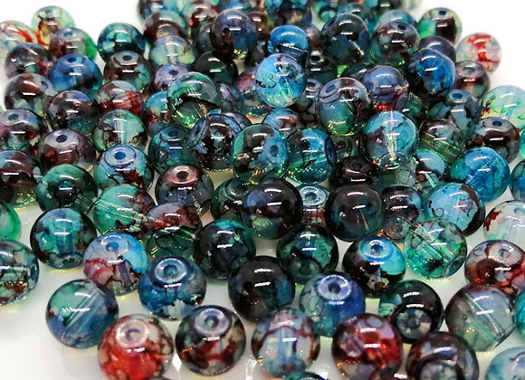Multi Mix Glass Bead Blues 8mm - Pack of 50