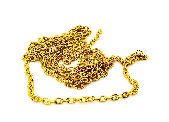 Cable Chain 3mm Offcut - Bright Gold - 85cm Length