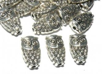 Tibetan Style Metal Owl Bead 10x6mm - Antique Silver
