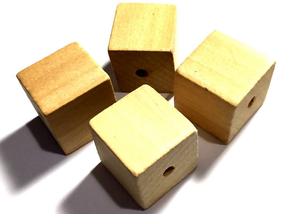 Unfinished Natural Wooden Bead  24mm - Cube