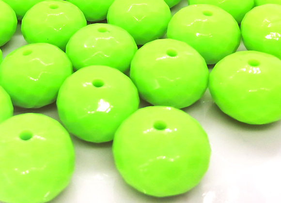 Large Faceted Abacus Bead  - Bright Green