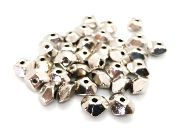 Heavy Metal Nugget Bead 12mm - Antique Silver