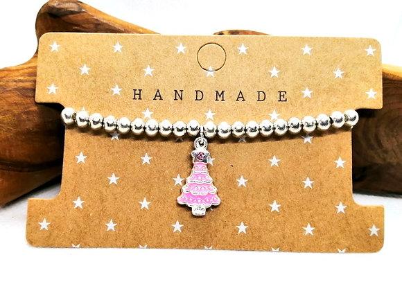 Christmas Bracelet Kit - Pink Tree with Rhinestones