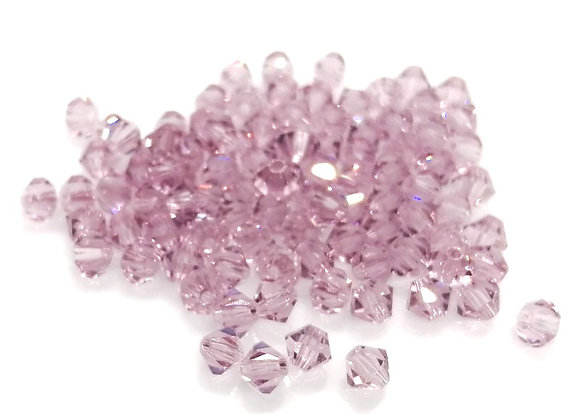 4mm Czech Crystal Bicones - Lilac Crystal