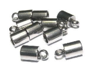 Silver Stainless Steel Cord End 4mm Hole - Pack of 2
