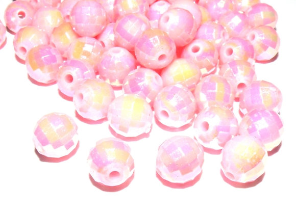 Acrylic faceted pink disco ab bead jewellery making beads uk
