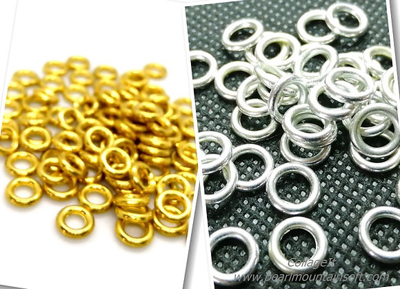 16g Heavy Closed Jump Rings - 8mm - Gold or Silver