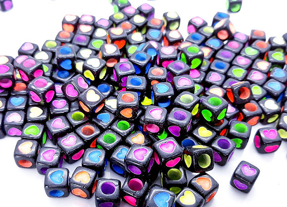 Large Hole Colourful Heart Cube Beads Pack of 50