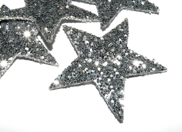 Faux Leather Glitter Star Pendant/Charm Silver - Pack of 2