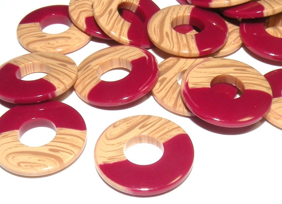 Resin Wood Effect Large Hole Link Bead - Red