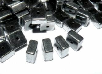 Hematite Square Bead 6mm - Platinum - Pack of 20