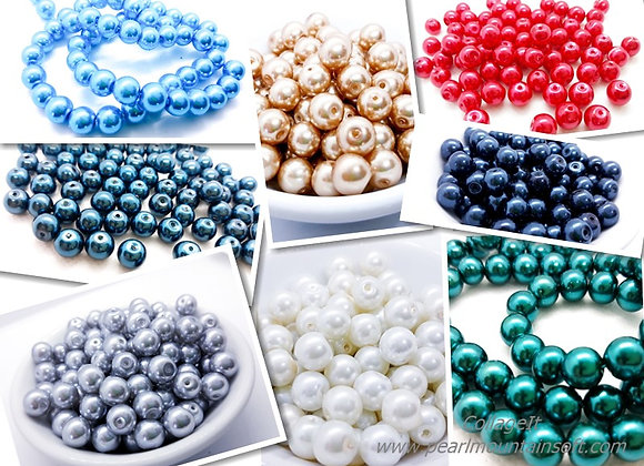Glass Pearl Beads 8mm - Choice of Colours - Pack of 50