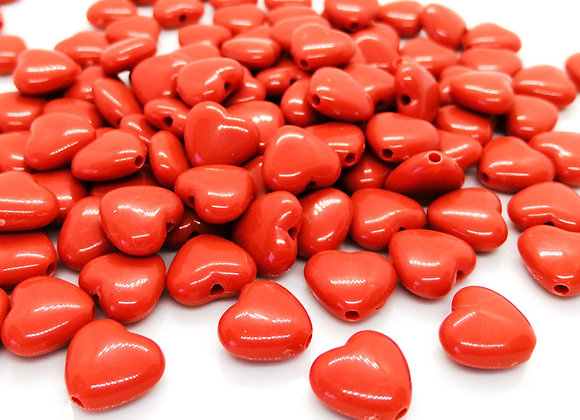 small red heart bead jewellery making beads uk