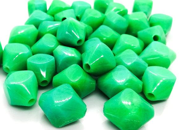 Large green bicone acrylic bead jewellery making beads uk