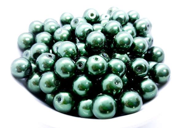8mm Glass Pearl Bead - Dark Green