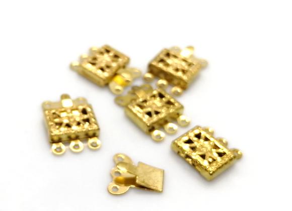 Bright Gold 3 Strand Box Clasp