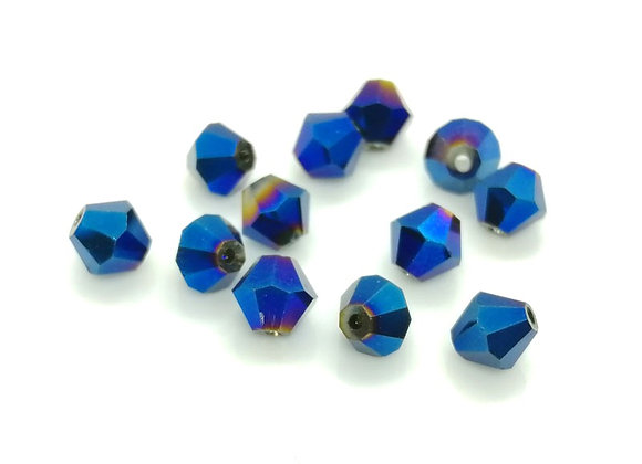 6mm Czech Crystal Bicone Bead - Blue AB