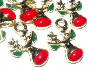 Gold Red Nose Rudolf Charm - Pack of 2