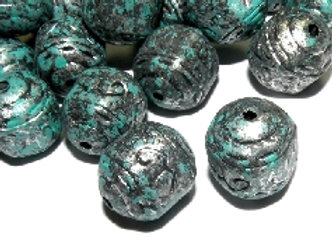 Antique Patina Style Column Bead 15mm - Silver