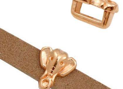 Elephant Head Slider Bead - 5mm Hole - Rose Gold