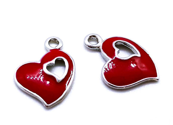 Enamelled Red Heart Charm