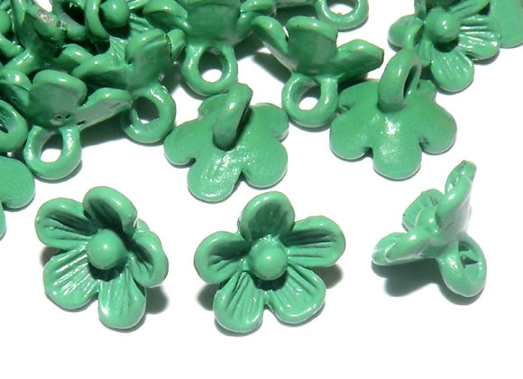 Metal Flower Charm - Green