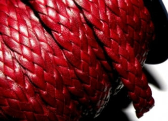 Flat Braided Soft Leather 10mm - Dark Red