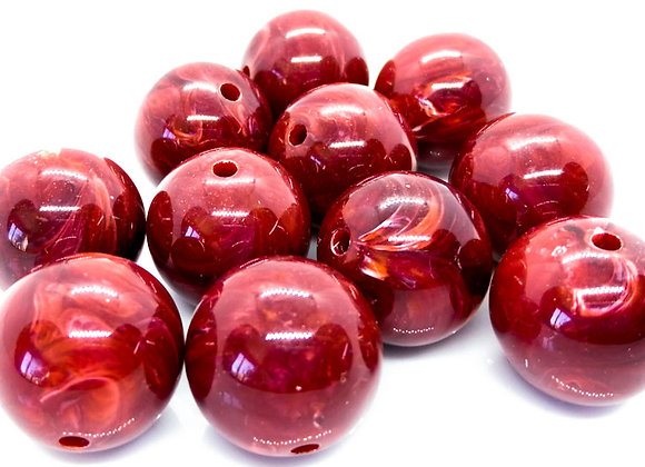 Large Dark Red Swirl Round Bead 20mm
