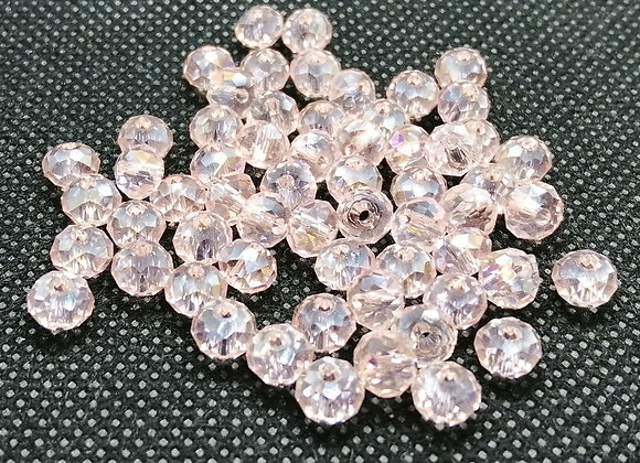 Glass Faceted Beads 4x6mm - Light Pinks